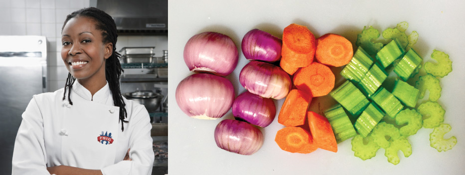 Photo of FSIG chef and vegetables.